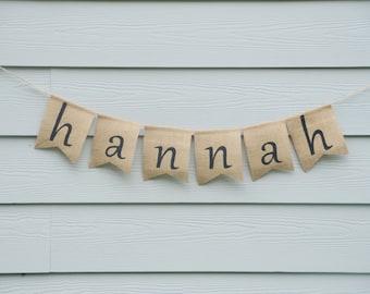 Custom Name Banner - baby shower nursery custom name burlap banner, personalized banner, name banner, burlap banner