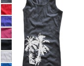 New womens ladies RIBBED Slim fit soft Tank top t-shirt surfer surf ocean skate palm trees tree Florida california punk skateboard white