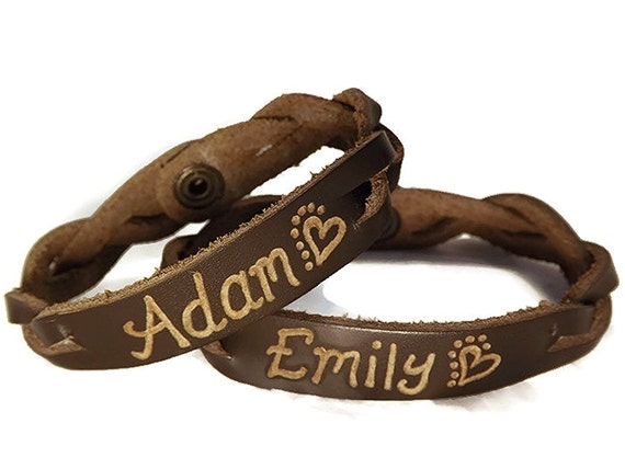 engraved couples braided bracelets his and hers jewelry