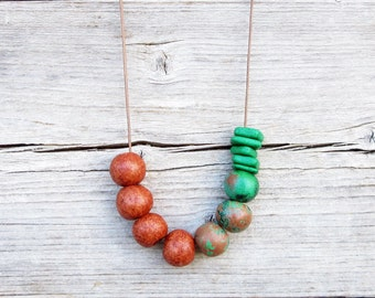 Terracota and Green Ceramic Necklace / Boho Necklace / Geometric Necklace / Long Necklace / Rusted Necklace