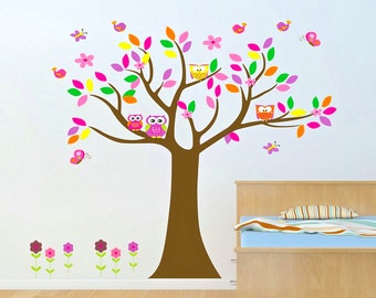Baby nursery wall decal baby girl wall decals Wall sticker vinyl owl tree wall decals kids children room decor wall art