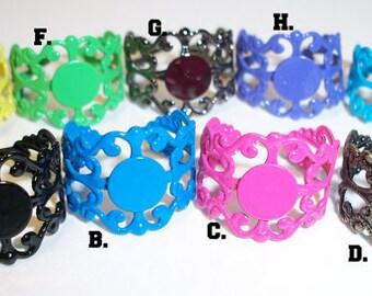 Filigree Ring Base , Enamel Coated, 8mm Glue On Pad, Adjustable, Enamel Costed Brass Ring Base, Filigree Brass Ring Base, DIY Ring Base
