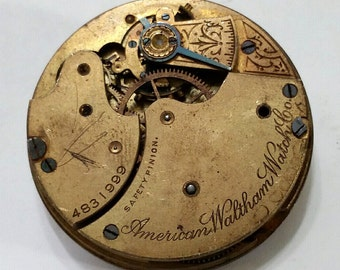 Antique Waltham 14s Pocket Watch Movement and Dial - Steampunk, Altered Art, Assemblage Supplies - not working; rare 14 size
