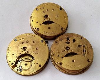 Antique 19th Century Elgin Gilt Pocket Watch Partial Movements, one is G.M. Wheeler - Steampunk, Altered Art Supplies - not working