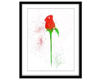 Red Rose Splatter Art, Printable Poster, Girls Room, Wall Art, Bedroom Art