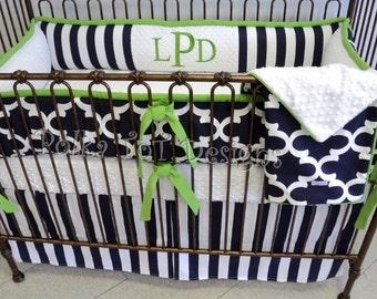 Navy, White & Lime Baby Bedding Set : Ledger
