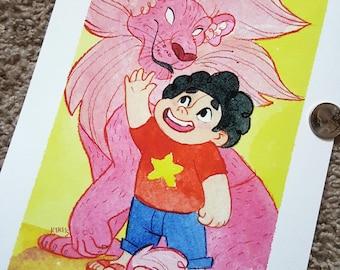 "8x10"" Steven Universe and Lion fine art watercolor print"