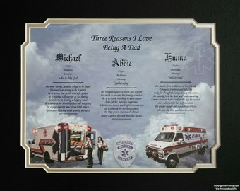 "EMS Christmas Gift for Dad Personalized Print ""Reasons I Love Being a Dad"" From 1, 2 or 3 Children Father's Day Birthday 14"" X 11"" EMT"