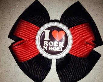 I Love Rock-n-Roll Hair Bow