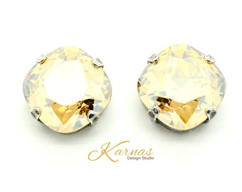 CRYSTAL GOLDEN SHADOW 12mm Crystal Cushion Cut Stud Earrings Swarovski Elements *Pick Your Finish *Karnas Design Studio *Free Shipping*