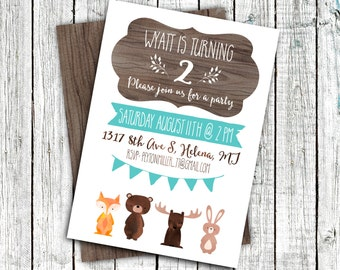 Woodland Birthday Invitation, Party Invitation, Digital 4x6 or 5x7, Creatures, wood, Rustic #16