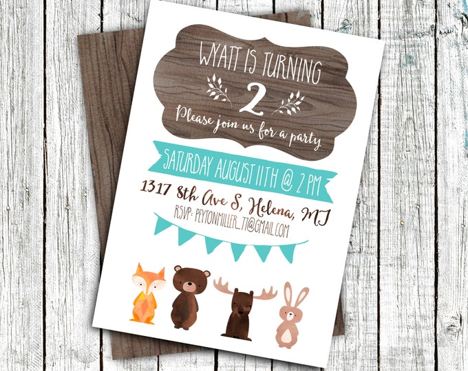 Woodland Birthday Invitation, Party Invitation, Digital 4x6 or 5x7, Creatures, wood, Rustic #16