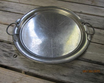 "Antique Trade Continental  Hand Wrought Hand Hammered Aluminum Serving Tray Leaf Design 11 1/2"" wide"