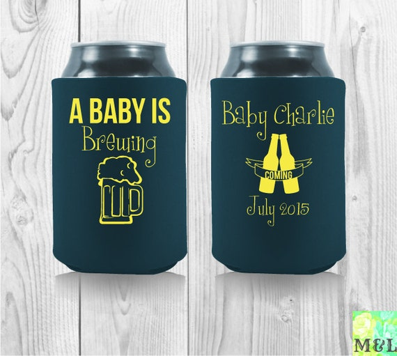 baby is brewing baby shower koozies by mintandlemon on etsy