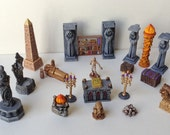 Mummies Treasure Room. Necromancers Trophy Room. Dungeon Scenery -Columns, Candelabras, Sarcophagi, Treasure Chests + MORE! 25 piece set!