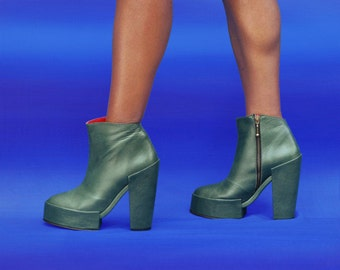 High Kyoto boot is a unique minimalist ankle boot with architectural split sole detailing
