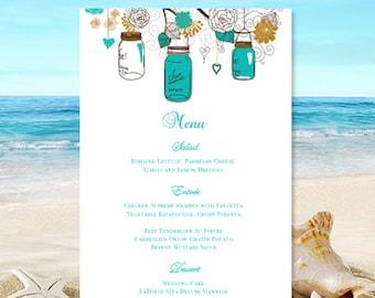 "Printable Wedding Menu Template ""Rustic Mason Jars"" Gold and Robin's Egg Blue Word.doc Instant Download DIY You Print"
