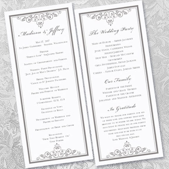 Wedding ceremony program template vintage silver for Wedding processional order template