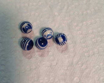 Blue and white striped beads