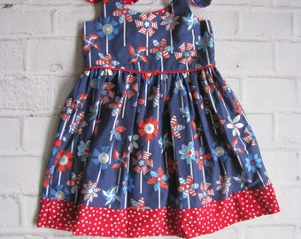 Fourth of July Dress, Patriotic Sun Dress, Red White Blue Baby Dress, Patriotic Outfit, Sundress, Summer Dress, Memorial Day Parade