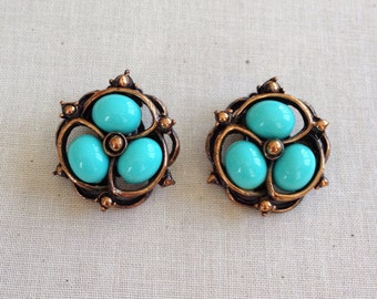 Vintage turquoise earrings, copper, vintage earrings, robins egg blue, vintage, jewelry
