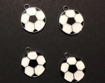 Soccer Ball Charm (4), Antique Silver, Black and White Enamel, Sports, Football, World Cup