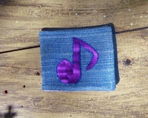 Wallet/Billfold - Hand Embroidered Eighth Note