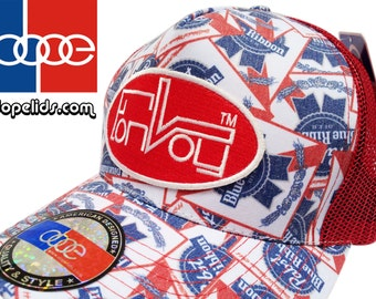Convoy Low Profile Truckers Vintage Style Pabst Blue Ribbon PBR Hat by dopelids