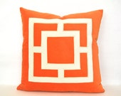 Orange Pillow Cover -  Bright Orange Velvet Pillow Cover with Off-White Velvet Applique
