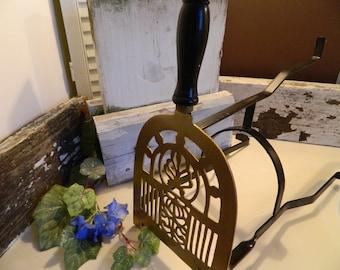 Vintage Fireplace Tripod Trivet Brass Cast Iron Turned Wooden Handle