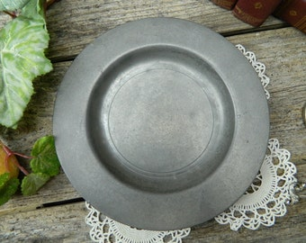 Antique London Crown X Pewter Plate