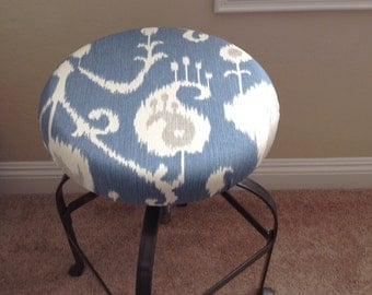 Blue Cream Grey Ikat Pattern Fitted Barstool Cushion Cover. Removable Washable Fitted