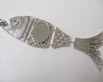 Fish Pendant Cabochon Fits 18x25 mm, Silver Color, 5 Inches, Car Or Truck Mirror Charm,Great For Rock Hounders, Fishermen