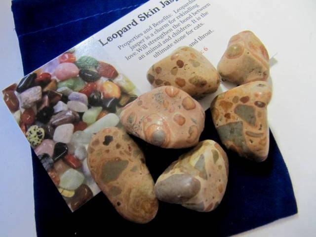 Gemstones, Leopard Skin Jasper, 6 Tumbled Stones, Chakra, Reiki, Crystal, Healing Stones, Feng Shui, New Age, Yoga, Meditation