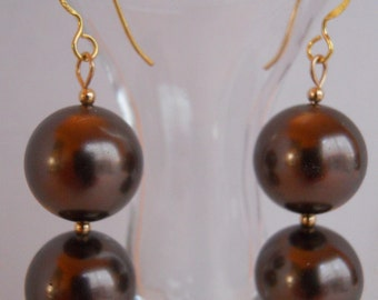 Brown Mother of Pearl Dangle Earrings CSS145E