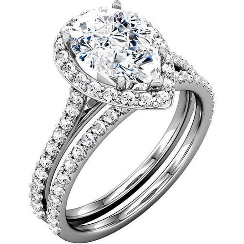 Pear Cut Wedding Ring Set 2.23 CTW Halo Cathedral Accented