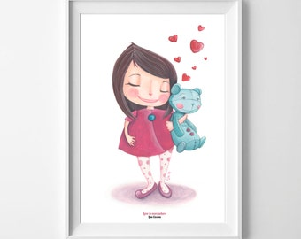 """Art print """"Love is everywhere"""" - Poster illustration with girl and teddy bear"""