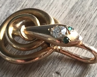14K Victorian snake pendant emerald, diamond ...stickpin conversion!  So gorgeous!