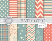 "VINTAGE PATRIOTIC Patterns 8 1/2"" x 11"" Digital Paper Pattern Prints, Instant Download, Paper Pack Scrapbook Print"
