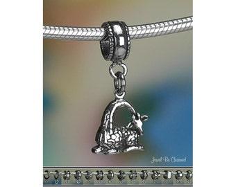 Sleepy Giraffe Charm or European Style Charm Bracelet Sterling Silver