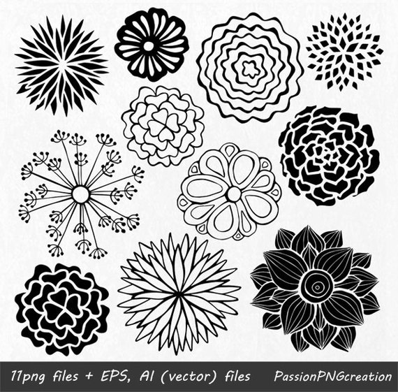 Hand Drawn Flowers clipart Flower element Flower