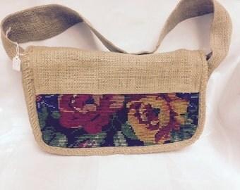 Vintage Guatamalan woven floral shoulder bag purse handbag messenger bag
