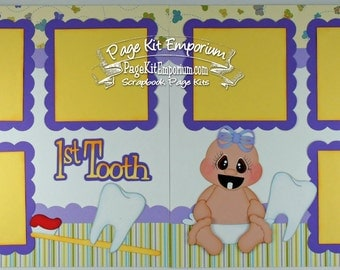 Scrapbook Page Kit Baby Girl First Tooth 2 page Scrapbook Layout 133