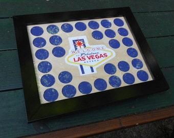 30 Poker Chip Display Frame Fits Casino chips Las Vegas custom frame Poker player gift Vegas logo frame Bachelor Party Gift