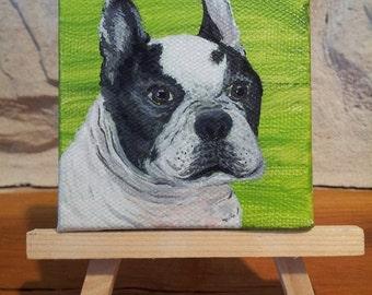 """Custom Pet Portrait, Mini Dog Portrait, Miniature Pet Portrait, Pet Painting, 3"""" x 3"""" canvas, Pet Lovers Gift!"""