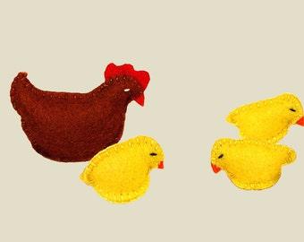 Felt Chicken, Stuffed Chicken, Felt Chicks, Chicken
