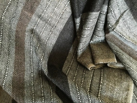 Handwoven. Gray stole shawl wrap scarf with broad black brown striped and gray colored narrow stripes woven with Sheep Merino wool