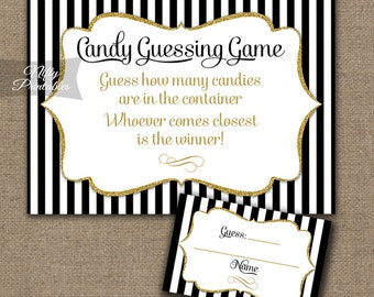 Candy Guessing Game - Black & Gold How Many Candies Game - Printable Baby Shower, Bridal Shower Candy Jar Game - Instant Download - BGL