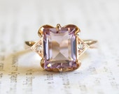Vintage Size 6 Emerald Cut Light Amethyst Austrian Crystal Ring Gold Electroplated Amethyst Engagement Ring Made in USA R1377