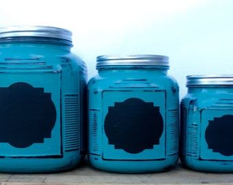 3 Piece Kitchen Canister Set with Chalk Board Label